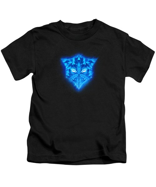 Deep Blue Collosal Low Poly Triangle Pattern  Modern Abstract Cubism  Design Kids T-Shirt
