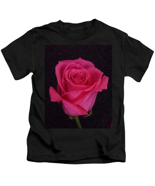Deep Pink Rose On Black Kids T-Shirt
