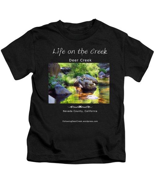 Deer Creek Ferns - White Text Kids T-Shirt