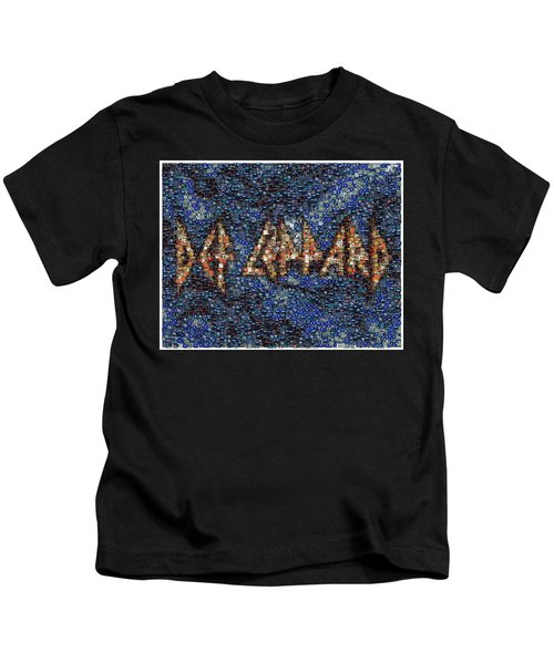 Def Leppard Albums Mosaic Kids T-Shirt by Paul Van Scott