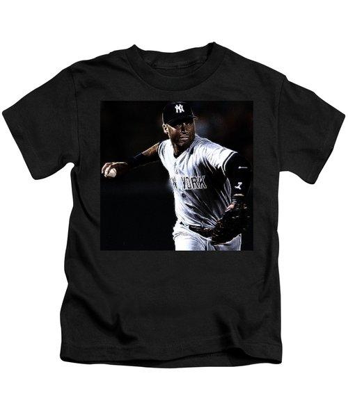 Derek Jeter Kids T-Shirt by Paul Ward