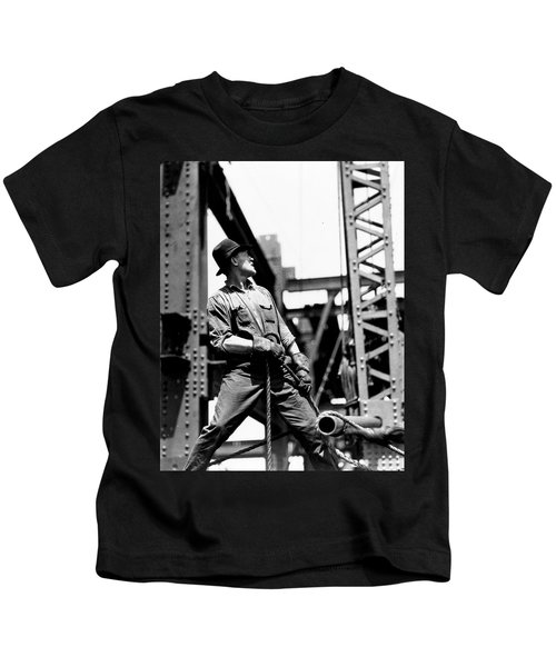 Derrick Man   Empire State Building Kids T-Shirt by LW Hine