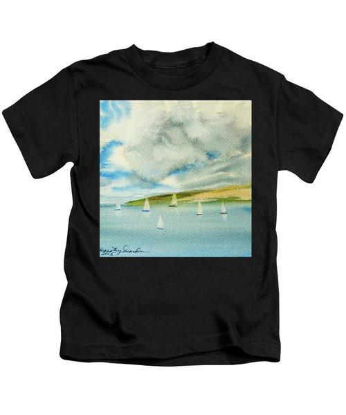 Dark Clouds Threaten Derwent River Sailing Fleet Kids T-Shirt