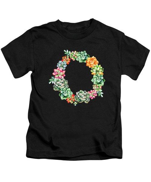 Desert Succulents Wreath Kids T-Shirt