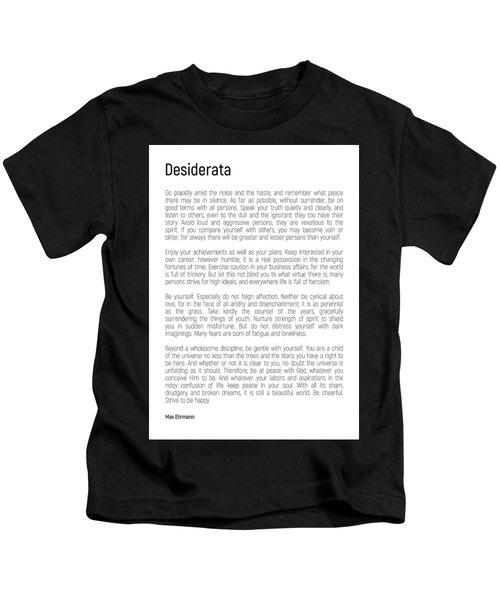 Desiderata #minimalism Kids T-Shirt