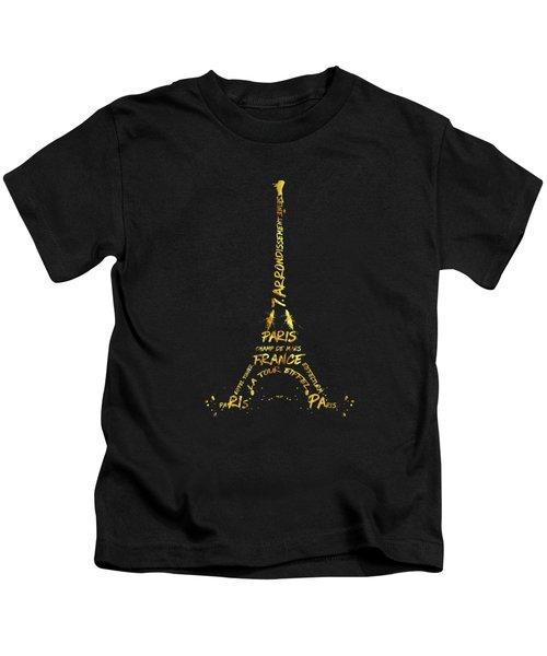 Digital-art Eiffel Tower - Black And Golden Kids T-Shirt by Melanie Viola