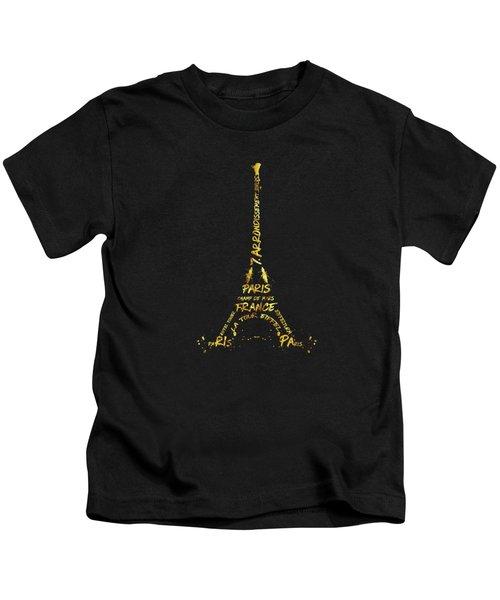 Digital-art Eiffel Tower - Black And Golden Kids T-Shirt