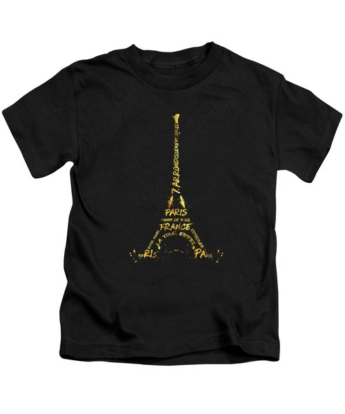 Digital-art Eiffel Tower - Black And Golden Kids T-Shirt