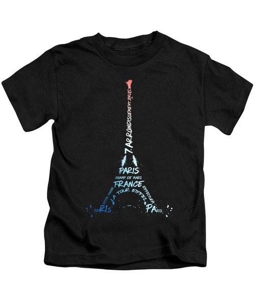 Digital-art Eiffel Tower National Colours Kids T-Shirt by Melanie Viola