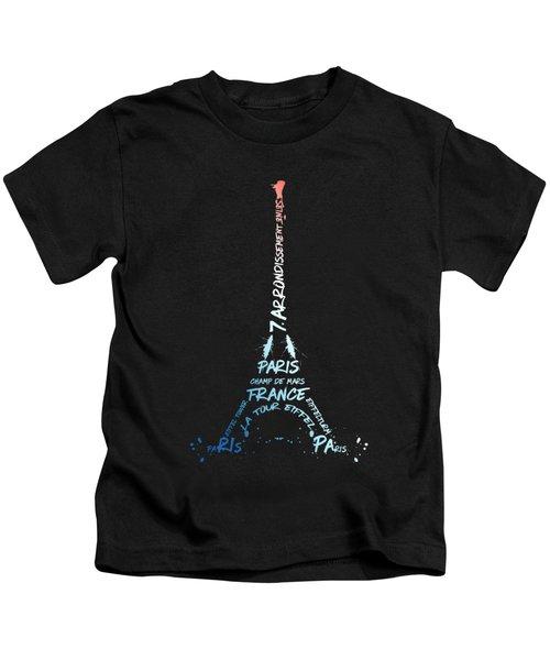 Digital-art Eiffel Tower National Colours Kids T-Shirt
