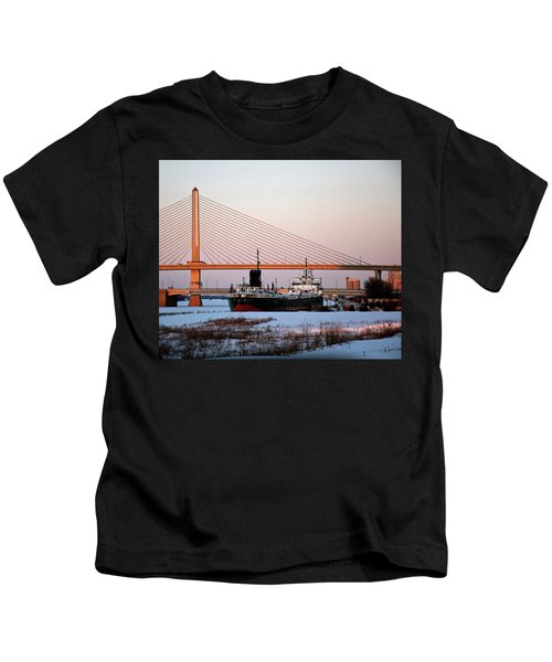 Docked Under The Glass City Skyway  Kids T-Shirt