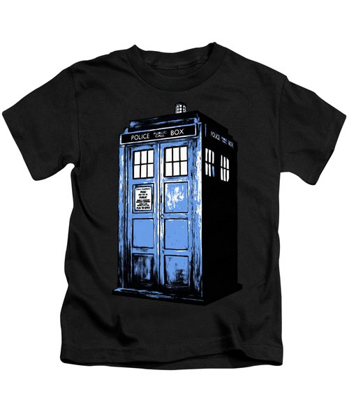 Kids T-Shirt featuring the digital art Doctor Who Tardis by Edward Fielding