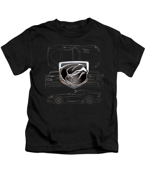 Dodge Viper  3 D  Badge Over Dodge Viper S R T 10 Silver Blueprint On Black Special Edition Kids T-Shirt by Serge Averbukh