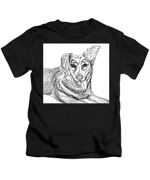 Dog Sketch In Charcoal 1 Kids T-Shirt
