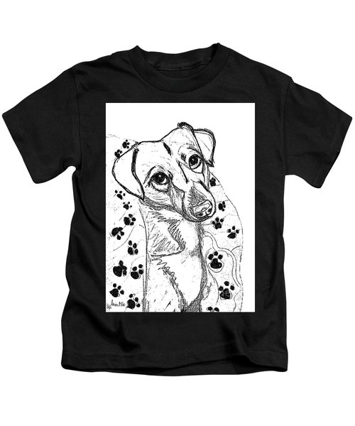 Dog Sketch In Charcoal 4 Kids T-Shirt