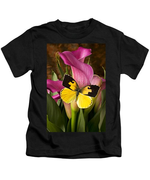 Dogface Butterfly On Pink Calla Lily  Kids T-Shirt