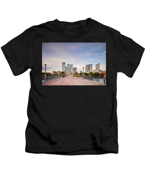 Downtown Austin Skyline From Lamar Street Pedestrian Bridge - Texas Hill Country Kids T-Shirt