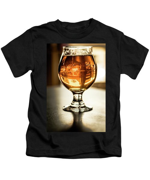 Downtown Waukesha Through A Glass Of Beer At Bernie's Taproom Kids T-Shirt