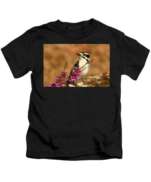 Downy Woodpecker In Spring Kids T-Shirt