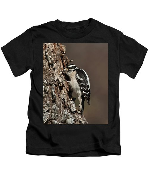 Downy Woodpecker's Secret Stash Kids T-Shirt
