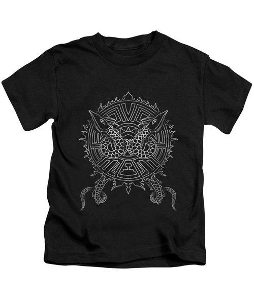 Dragon Shield Kids T-Shirt by Christopher Szilagyi