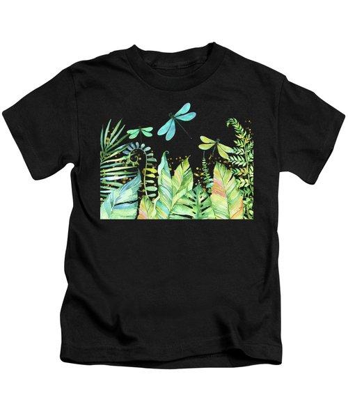 Dragonfly Garden Tropical Jungle Plants Dragonflies Kids T-Shirt