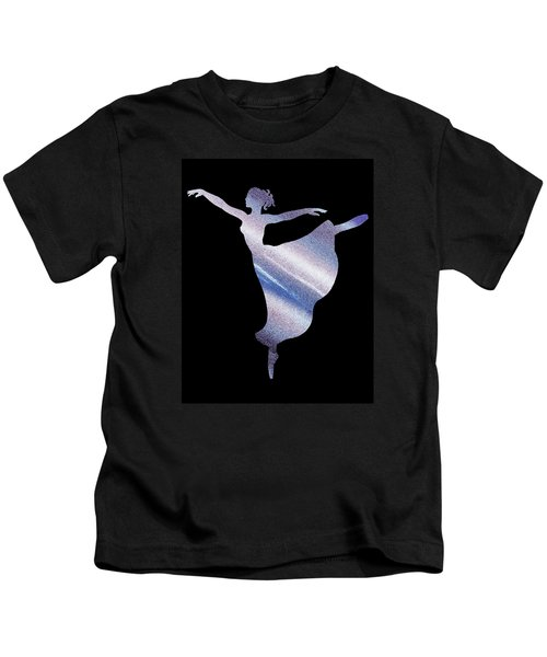 Dramatic Blue Dance Ballerina Silhouette Kids T-Shirt