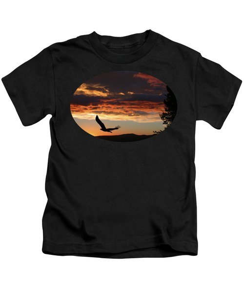 Eagle At Sunset Kids T-Shirt