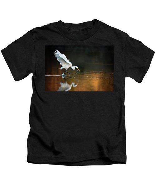 Egret At Sunset Kids T-Shirt