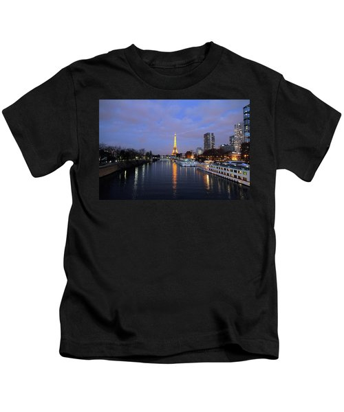 Eiffel Tower Over The Seine Kids T-Shirt