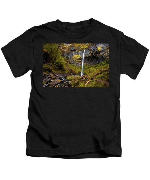 Elowah Falls Oregon Kids T-Shirt