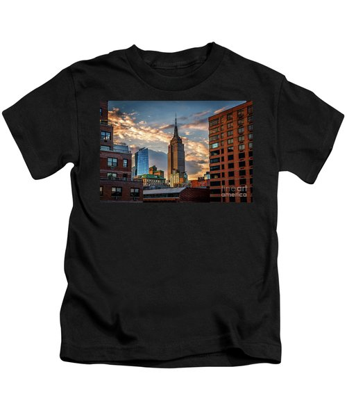 Empire State Building Sunset Rooftop Kids T-Shirt