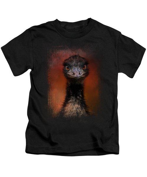 Emu Stare Kids T-Shirt by Jai Johnson