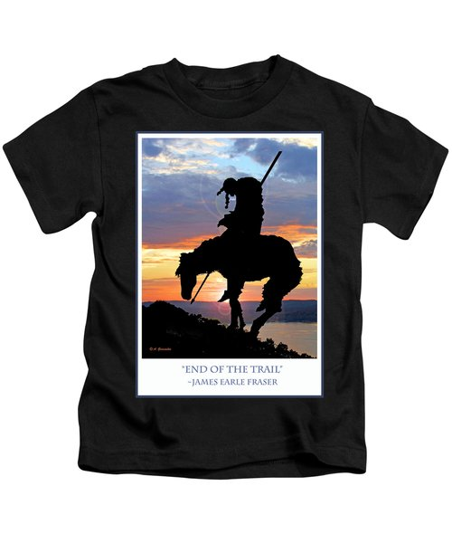End Of The Trail Sculpture In A Sunset Kids T-Shirt