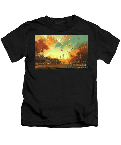 Kids T-Shirt featuring the painting Enter The Fantasy Land by Tithi Luadthong