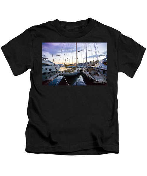 Evening At Harbor  Kids T-Shirt