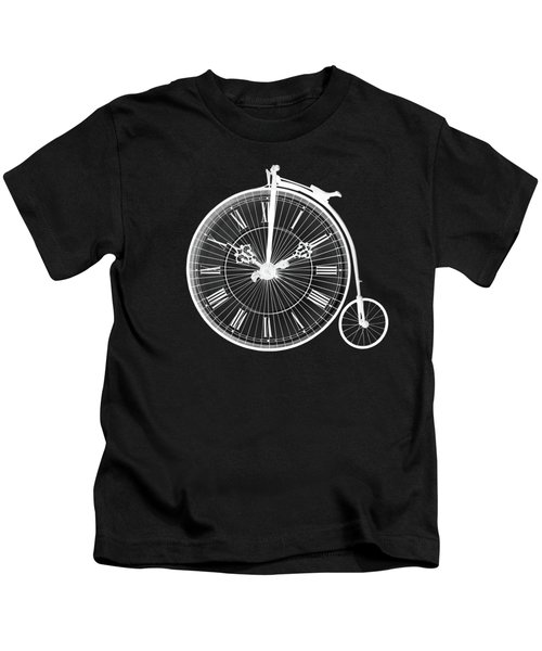 Evening Ride Penny Farthing On Black Kids T-Shirt