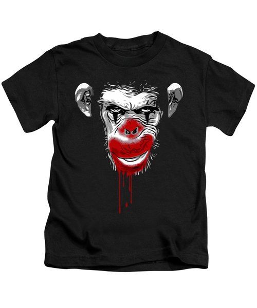 Evil Monkey Clown Kids T-Shirt by Nicklas Gustafsson
