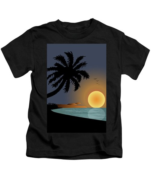 Exotic Sunset With Palm Tree Kids T-Shirt