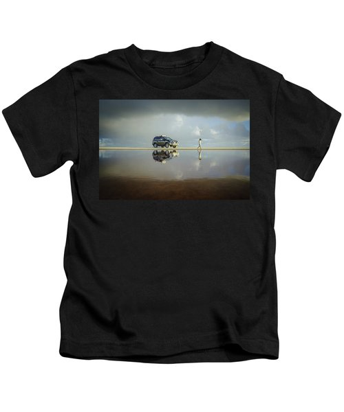 Exploring The Beach On A Rainy Day Kids T-Shirt