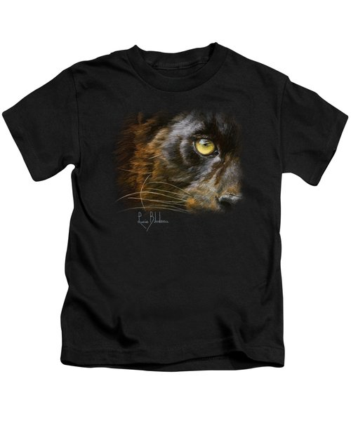 Eye Of The Panther Kids T-Shirt by Lucie Bilodeau