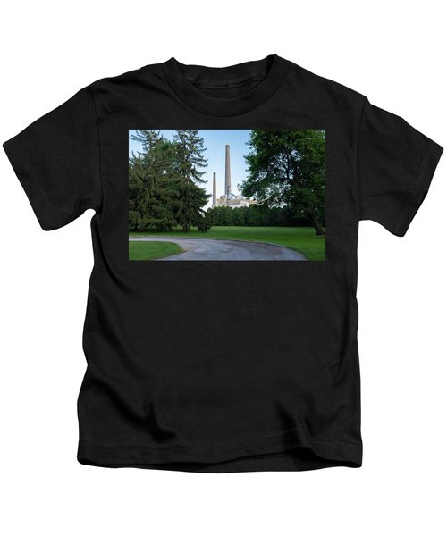 Factory Next To A Park With Smoke Stacks In Sheboygan Wisconsin Kids T-Shirt