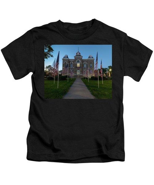 Fairbury Nebraska Avenue Of Flags - September 11 2016 Kids T-Shirt