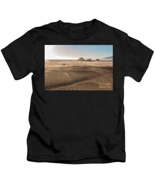 Family Walking On Sand Towards Ocean Kids T-Shirt