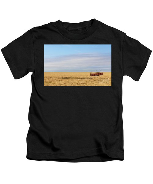 Farm Trailer In The Middle Of Field Kids T-Shirt