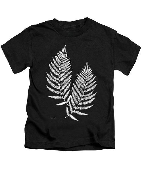 Kids T-Shirt featuring the mixed media Fern Pattern Black And White by Christina Rollo