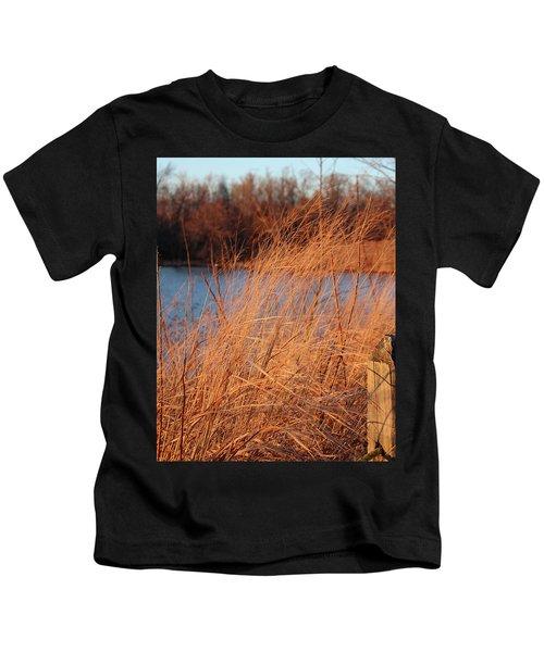 Amber Brush On The River Kids T-Shirt
