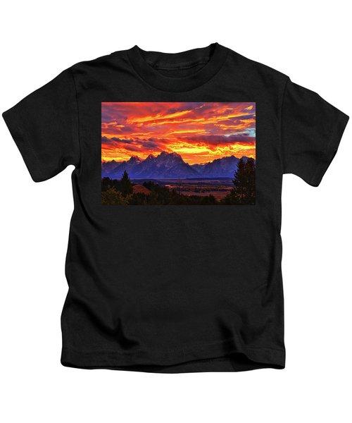 Fire In The Teton Sky Kids T-Shirt