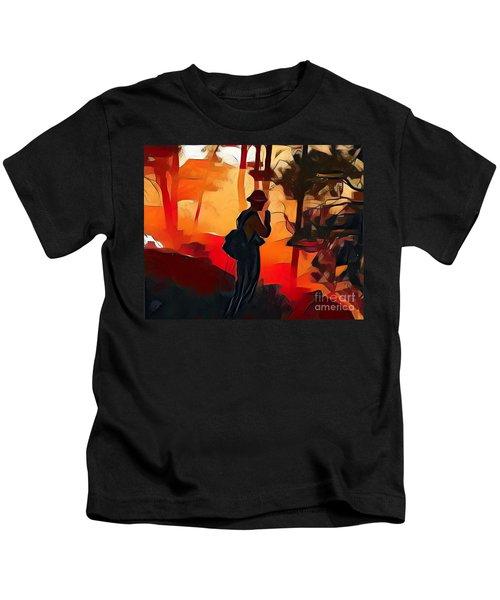 Firefighter On White Draw Fire Kids T-Shirt