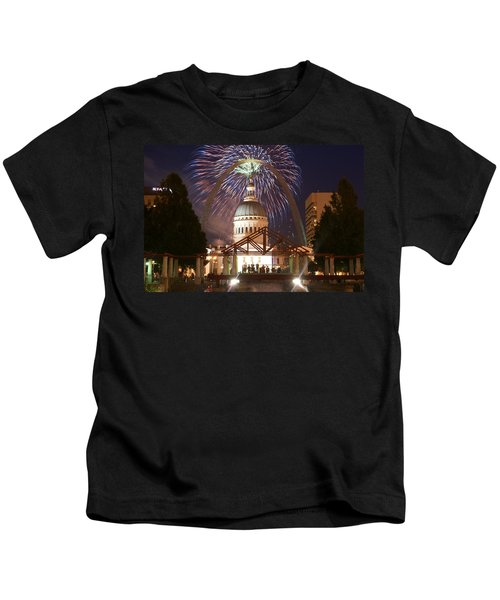 Fireworks At The Arch 1 Kids T-Shirt